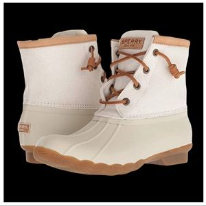 Sperry Duck Boot Leather Saltwater Metallic Ivory